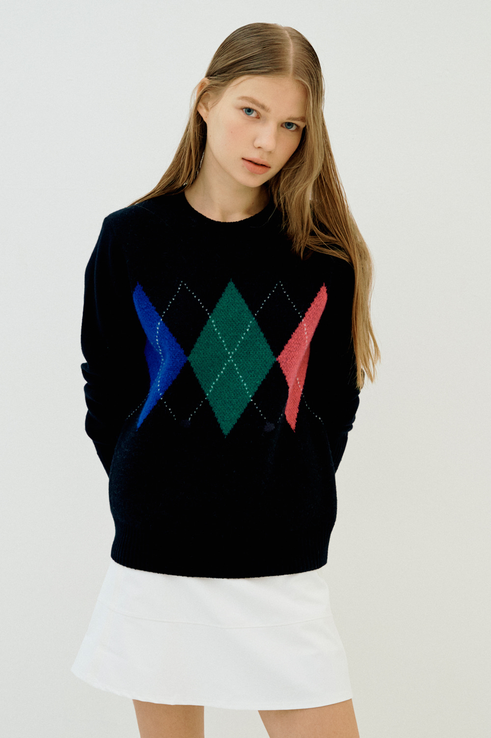 Cashmere Blend Argyle Knit _Women
