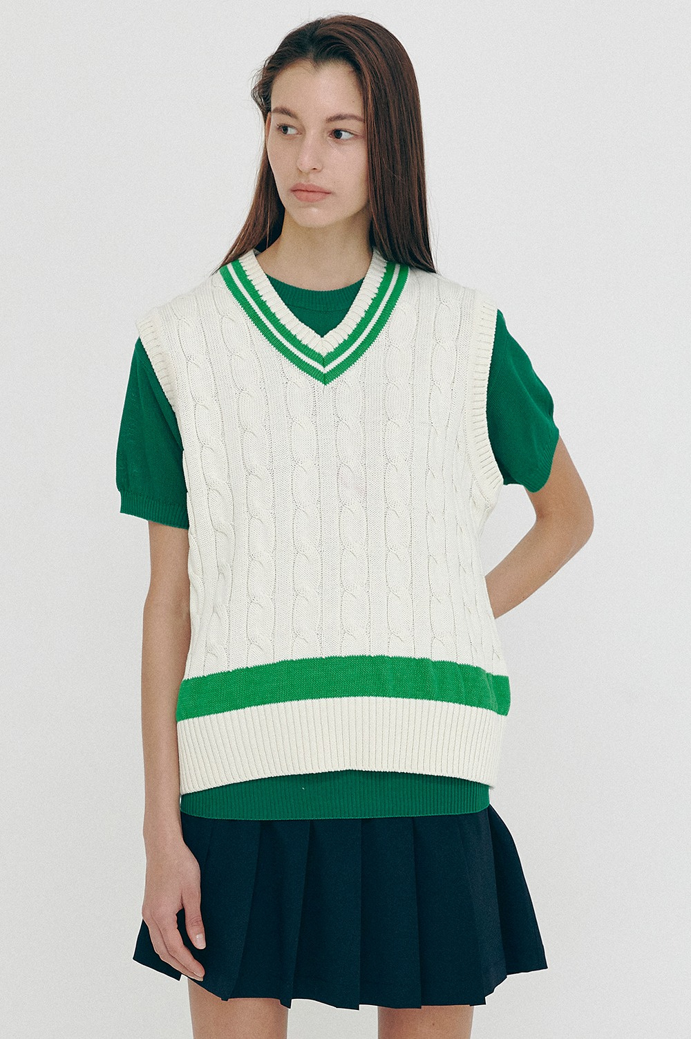 [5/4(화) 예약배송][SS21 CLOVE] Cable Knit Vest Green