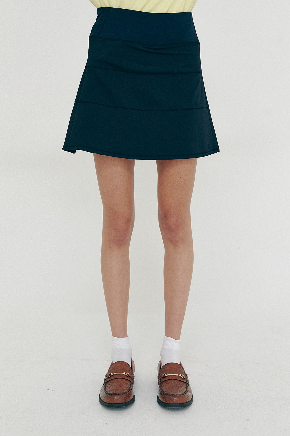 clove - [SS21 clove] Block Pleated Skirt Navy