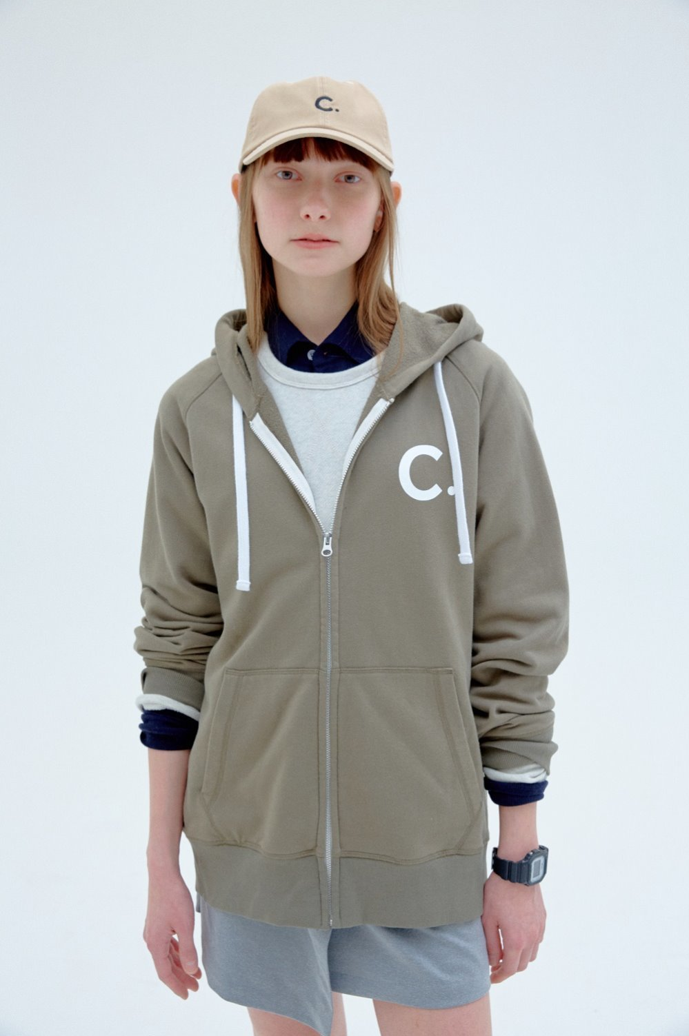 [2차리오더] Basic Zip-up Hoody  (Khaki)