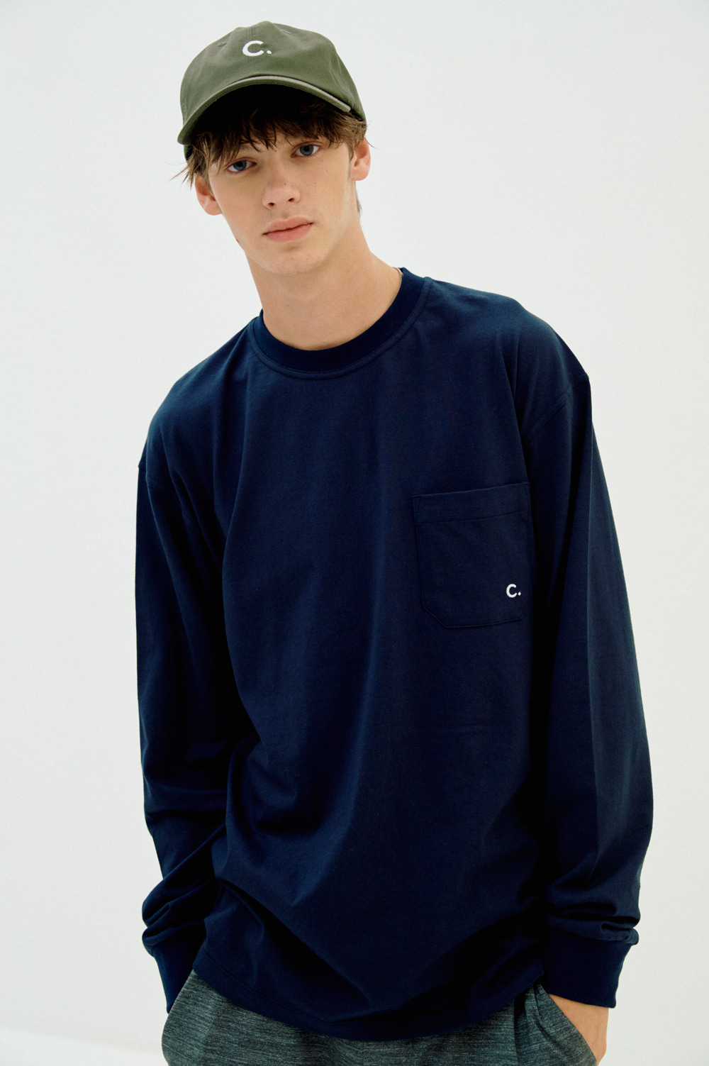 Pocket Long Sleeve T-shirt (Dark Navy)