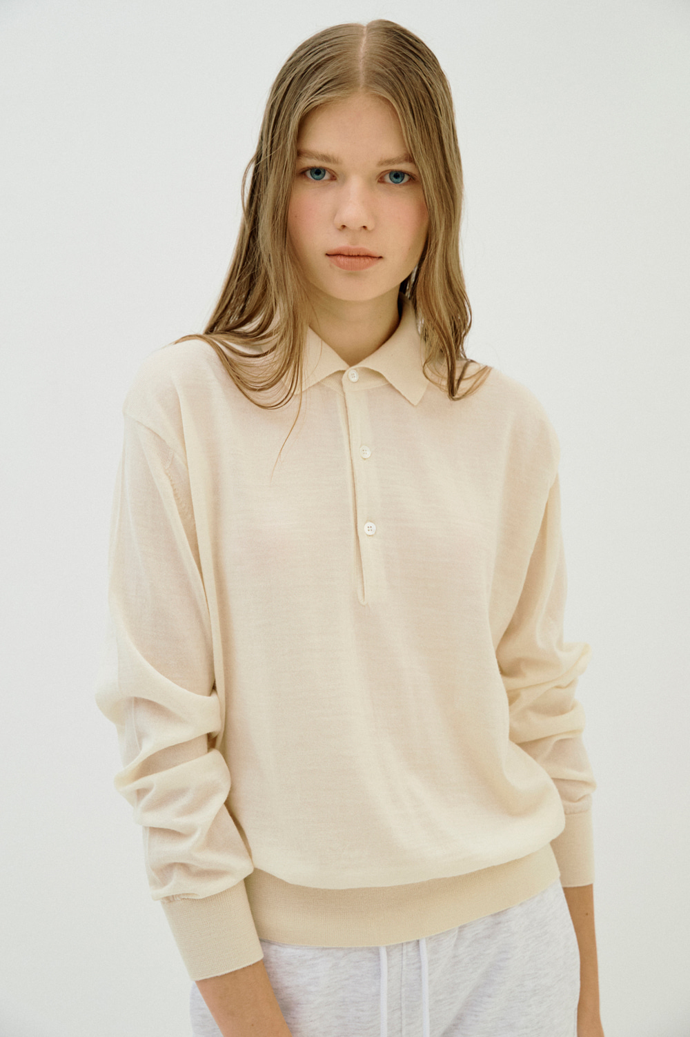 Extrafine Wool Polo _Women (Cream)