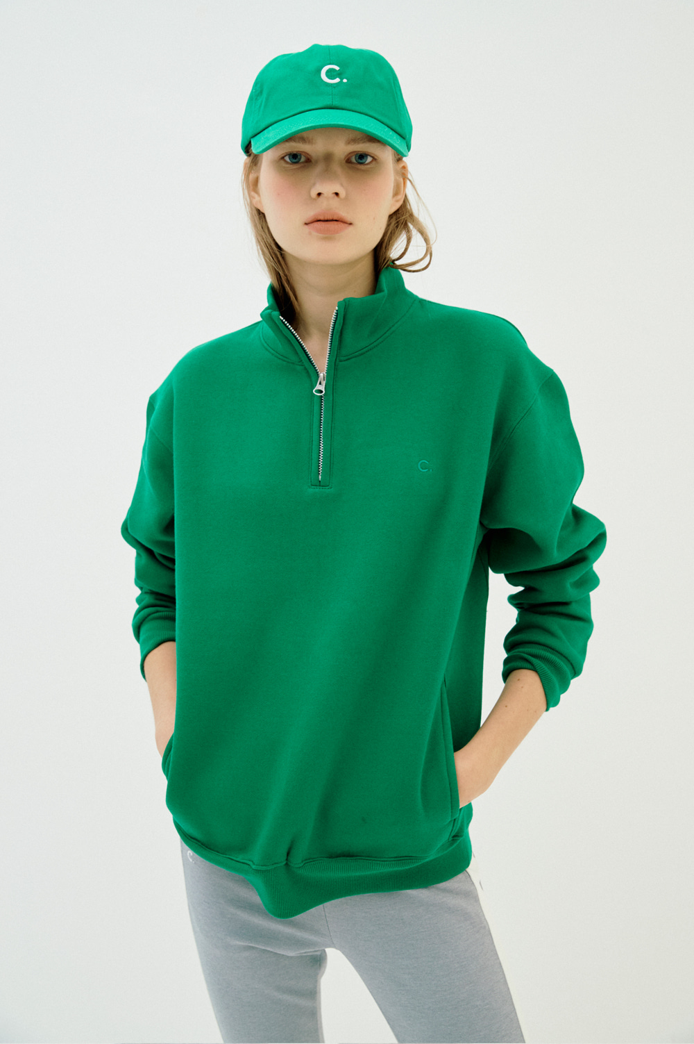 Warm Half Zip Sweatshirt  (Green)