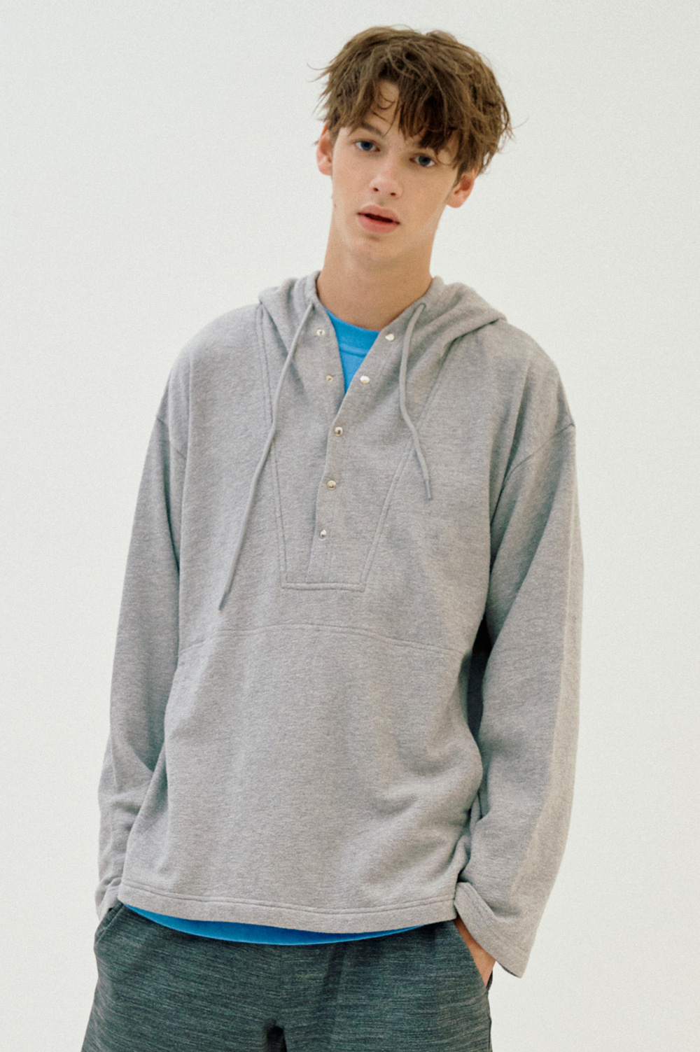 Unisex Button Hoody (Gray)