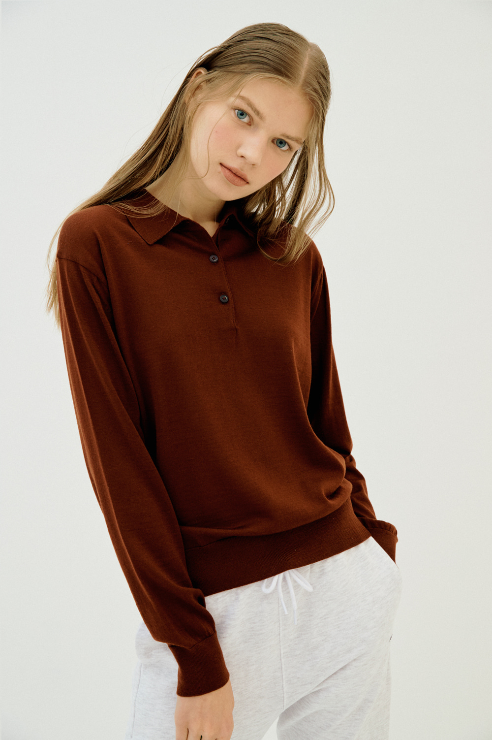 clove - Extrafine Wool Polo _Women (Brick)