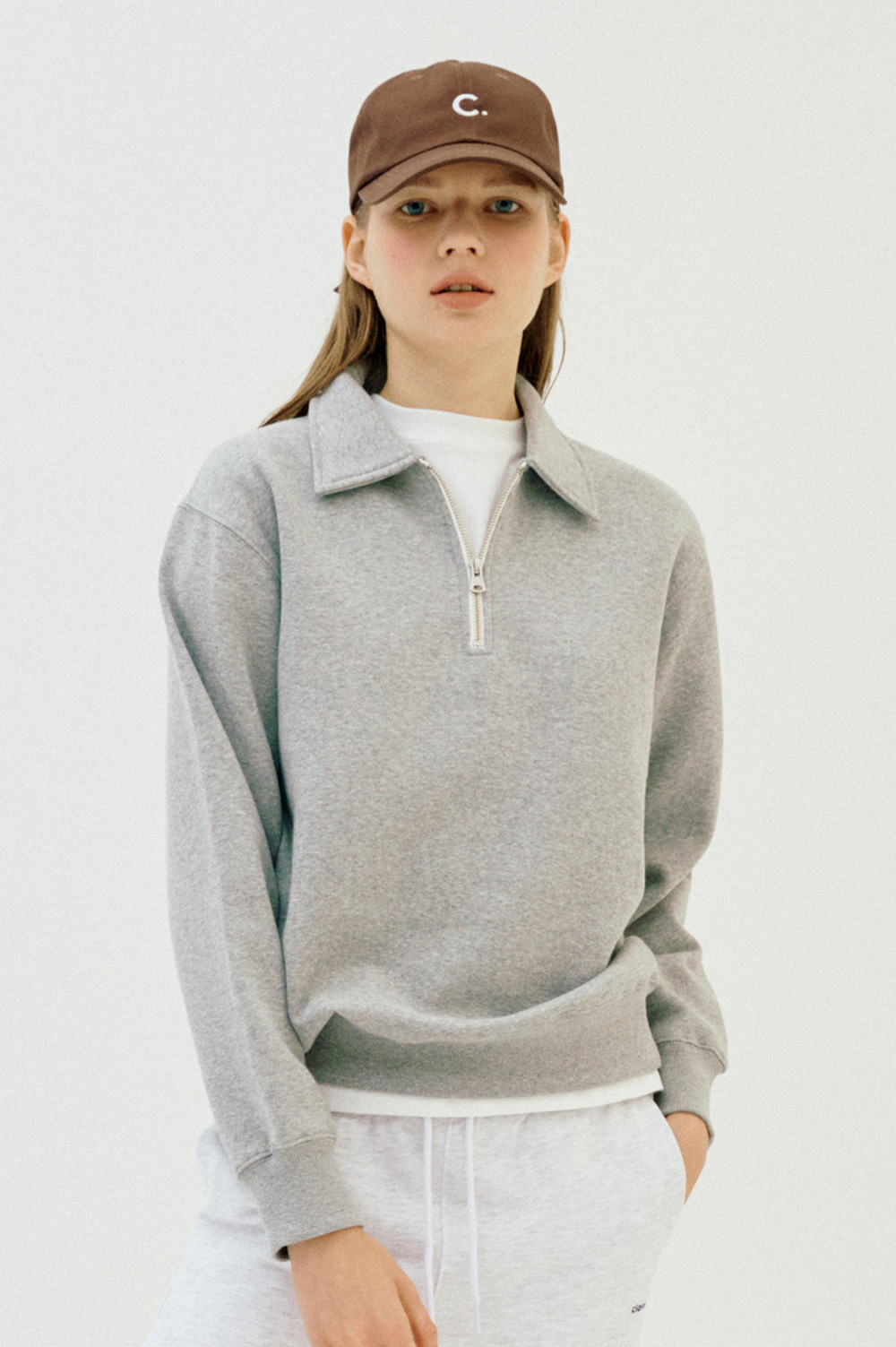 Basic Half Zip Sweatshirt _Women  (Gray)
