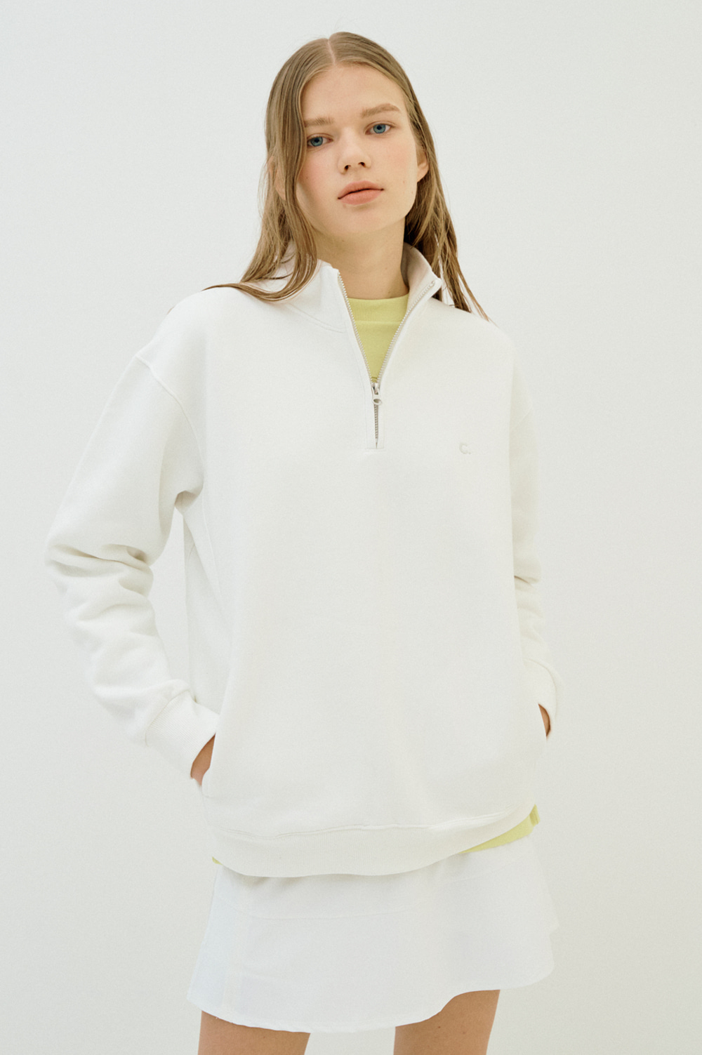Warm Half Zip Sweatshirt  (White)