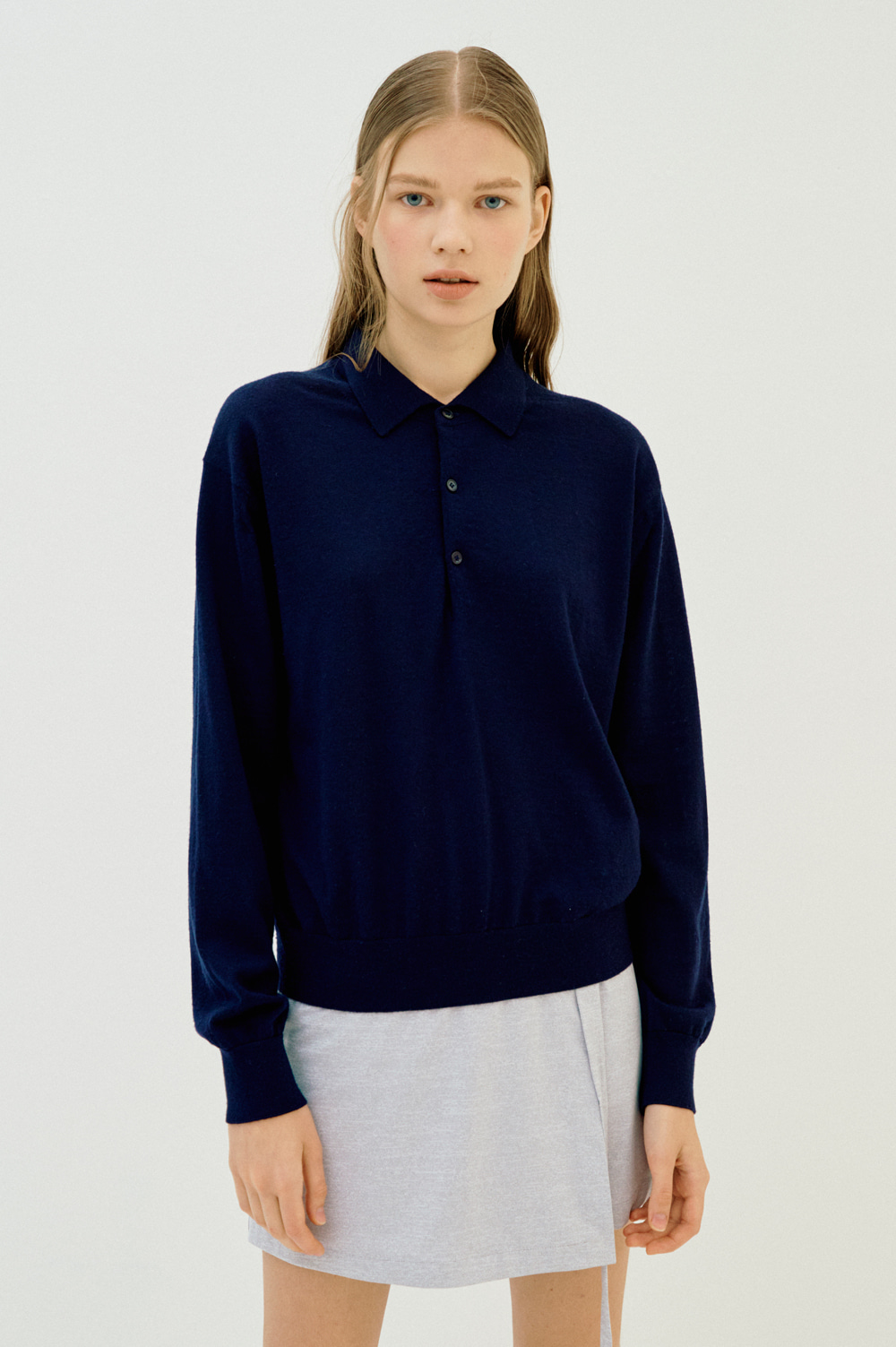 Extrafine Wool Polo _Women (Navy)