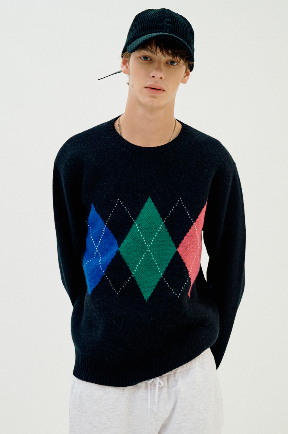 Cashmere Blend Argyle Knit _Men
