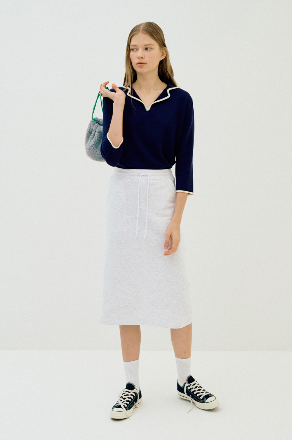 Extra Fine Wool Collar Knit _Women (Navy)