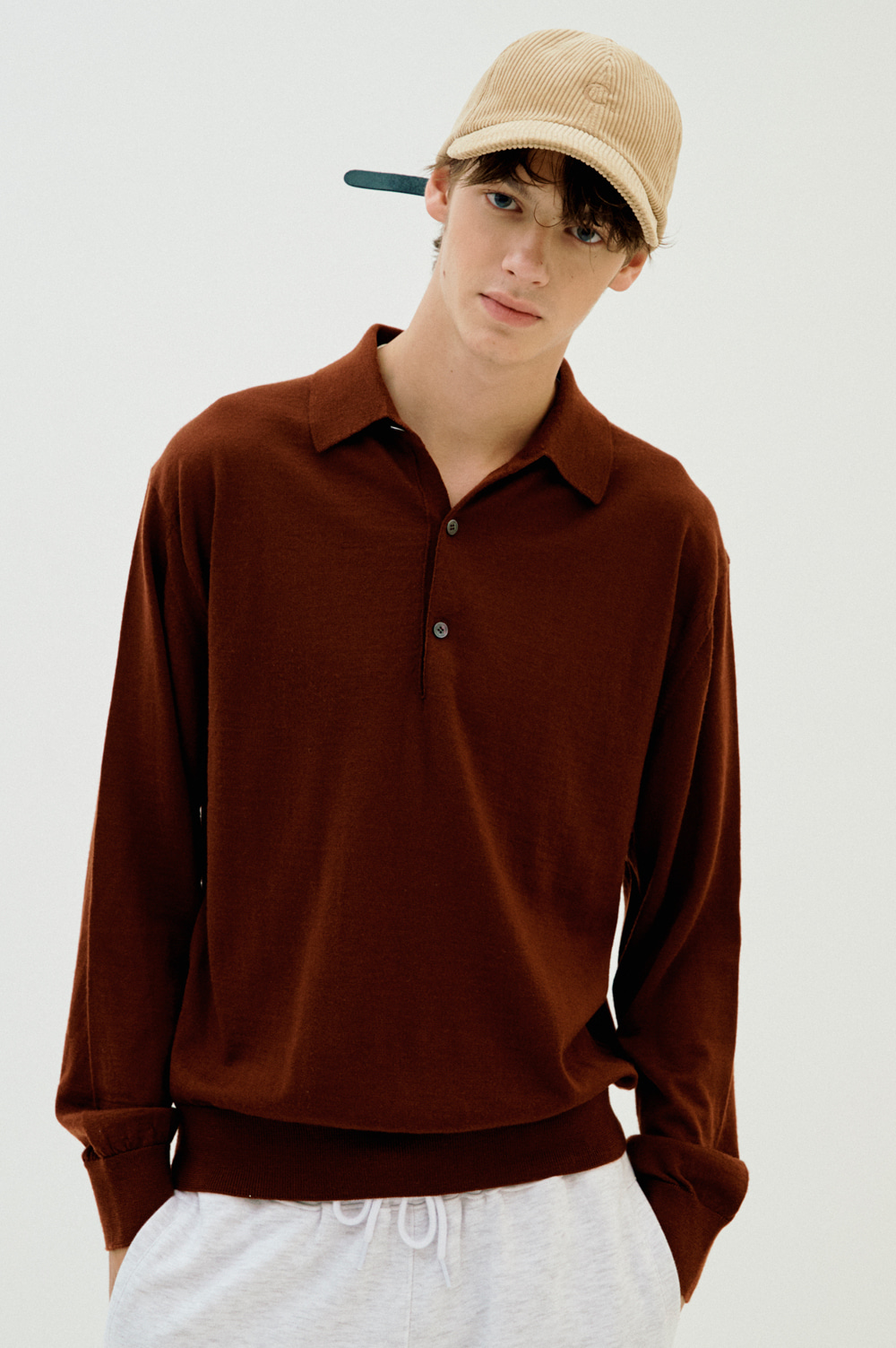 Extrafine Wool Polo _Men (Burgundy)