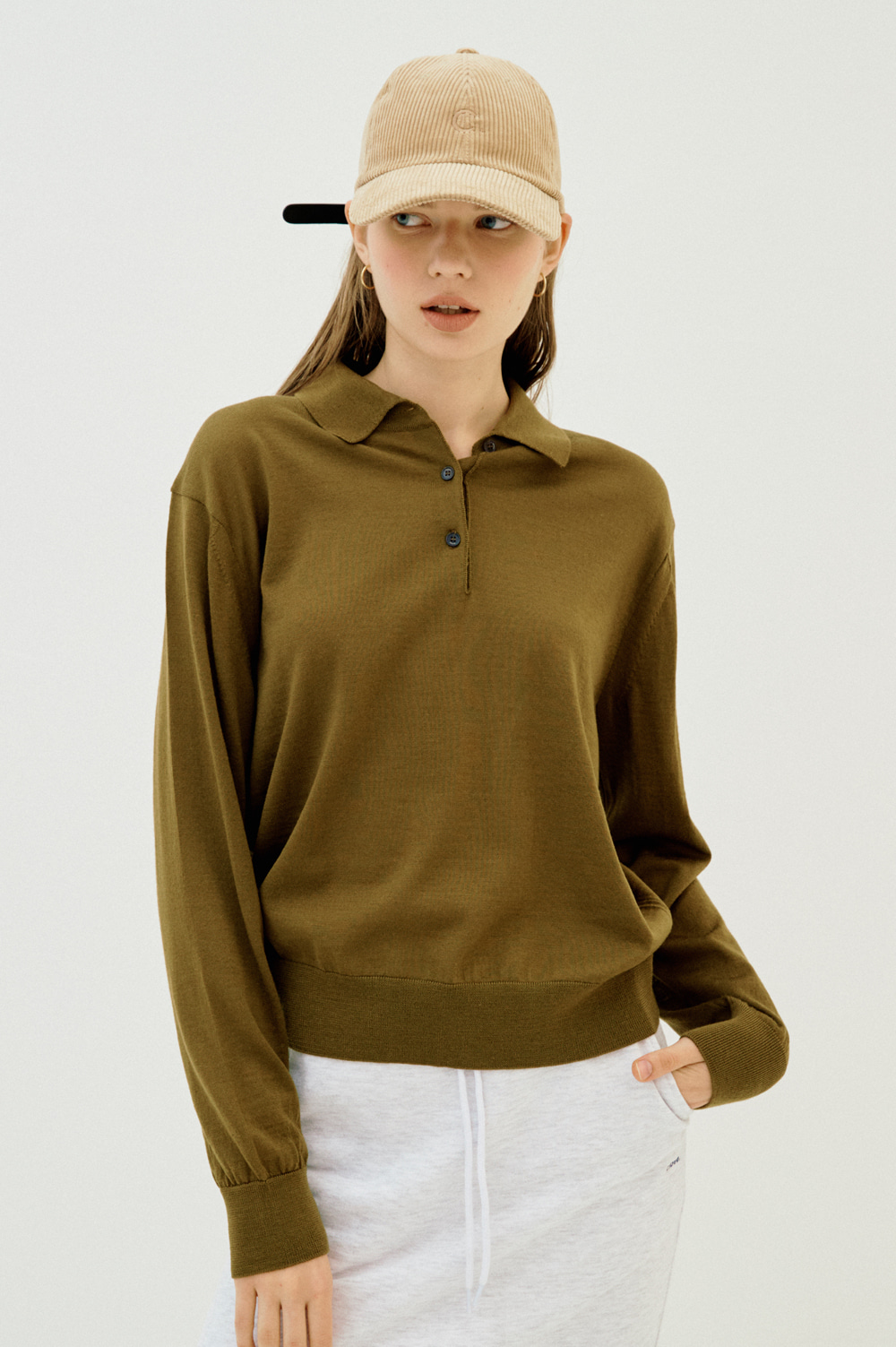 Extrafine Wool Polo _Women (Khaki)