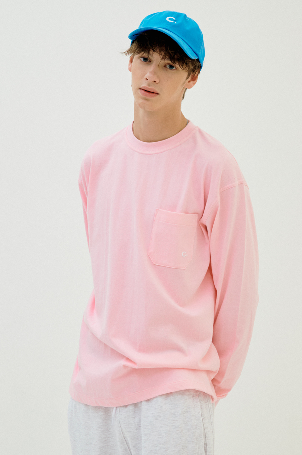 Pocket Long Sleeve T-shirt (Pink)