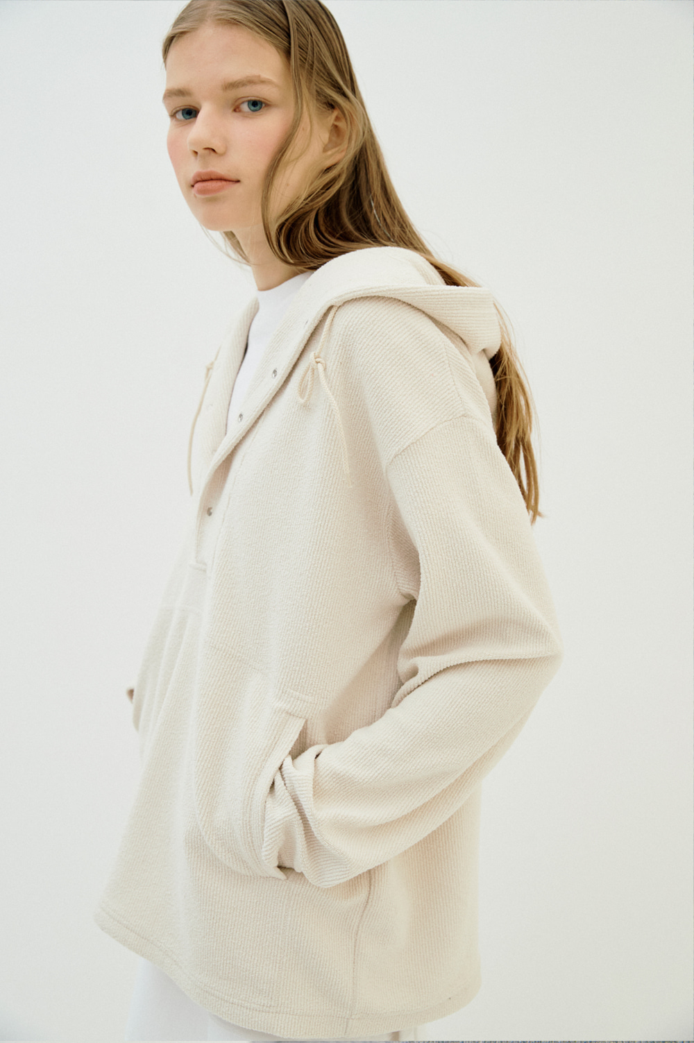 Unisex Button Hoody  (Cream)