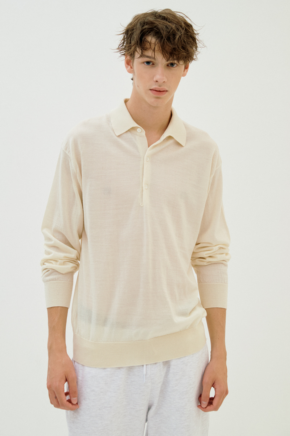 Extrafine Wool Polo _Men (Cream)
