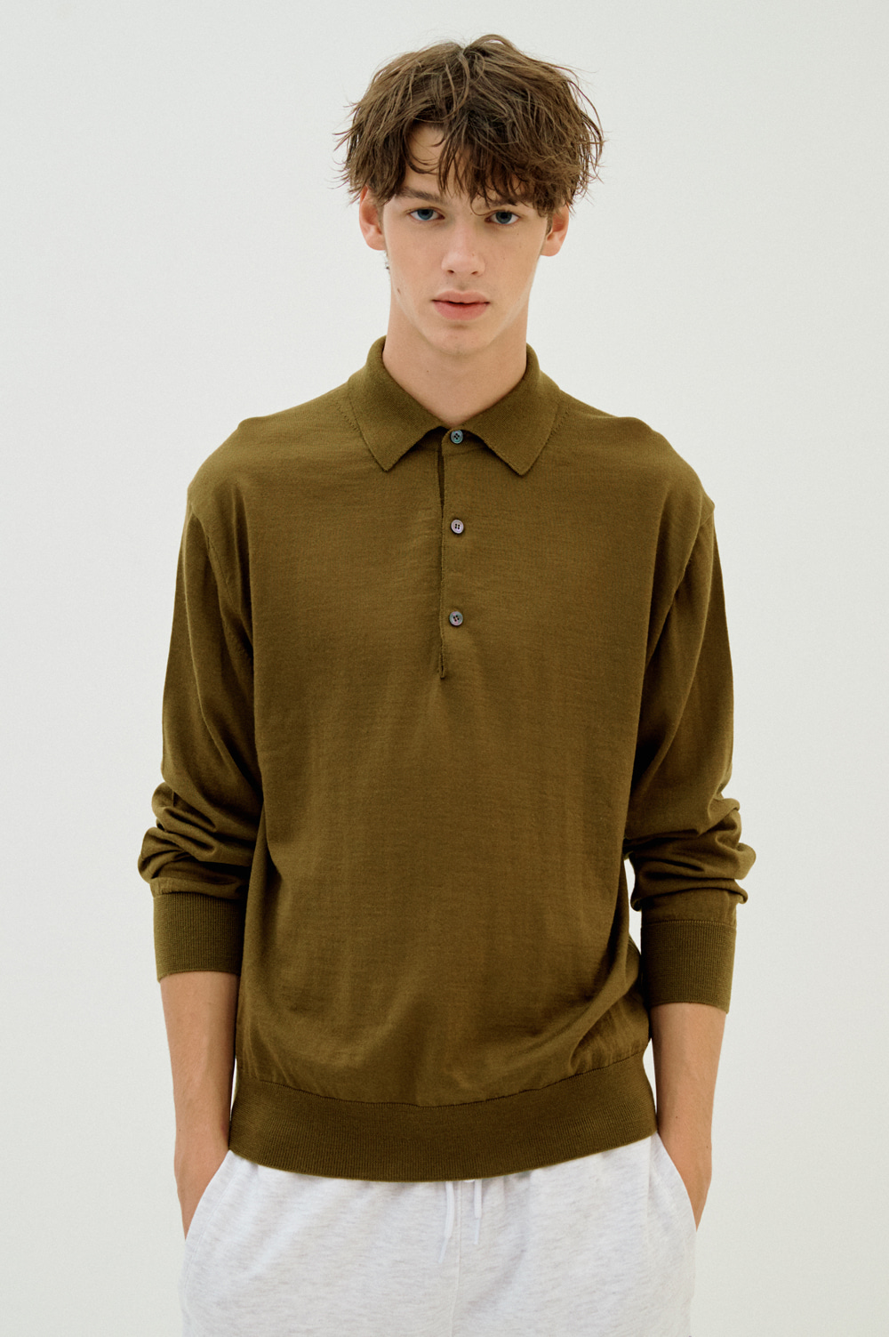Extrafine Wool Polo _Men (Khaki)