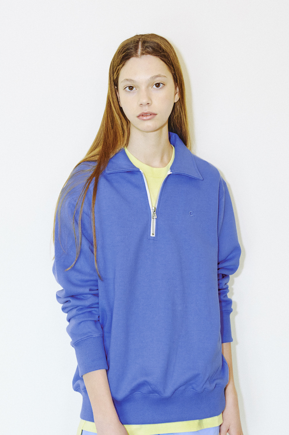 Basic Half-Zip Sweatshirts (Blue)