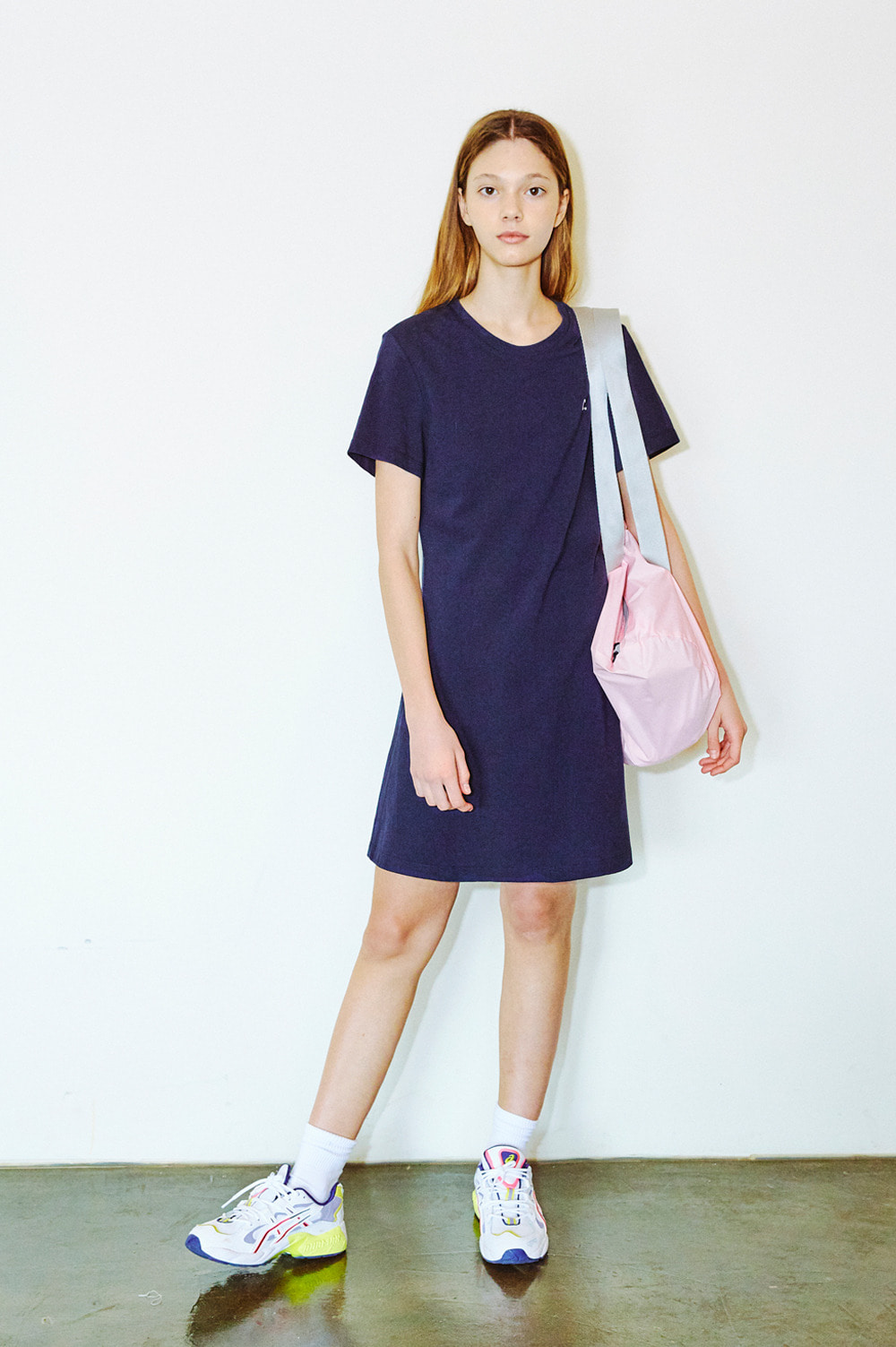 Pique Crewneck Dress (Navy)