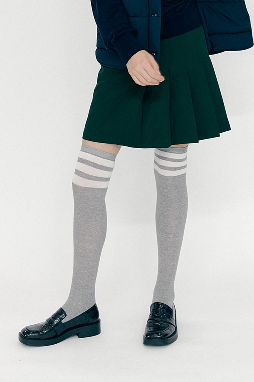 clove - [재입고 예정] Stripe Knee Socks (Melange Grey)