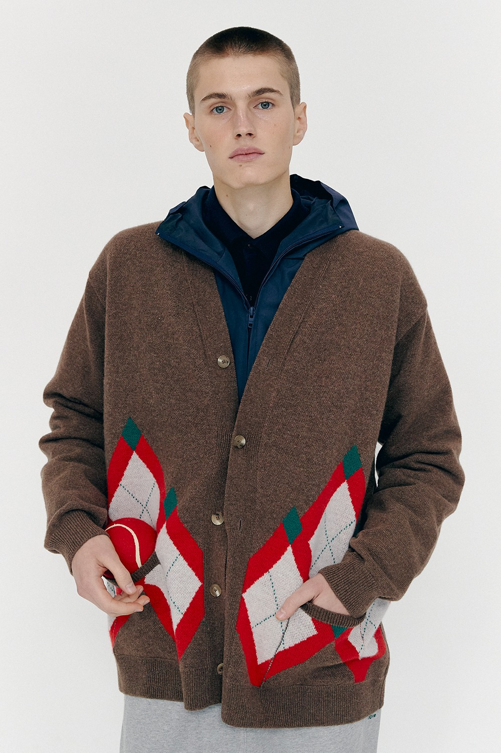 [FW20 CLOVE] Argyle Knit Long Cardigan (Brown)