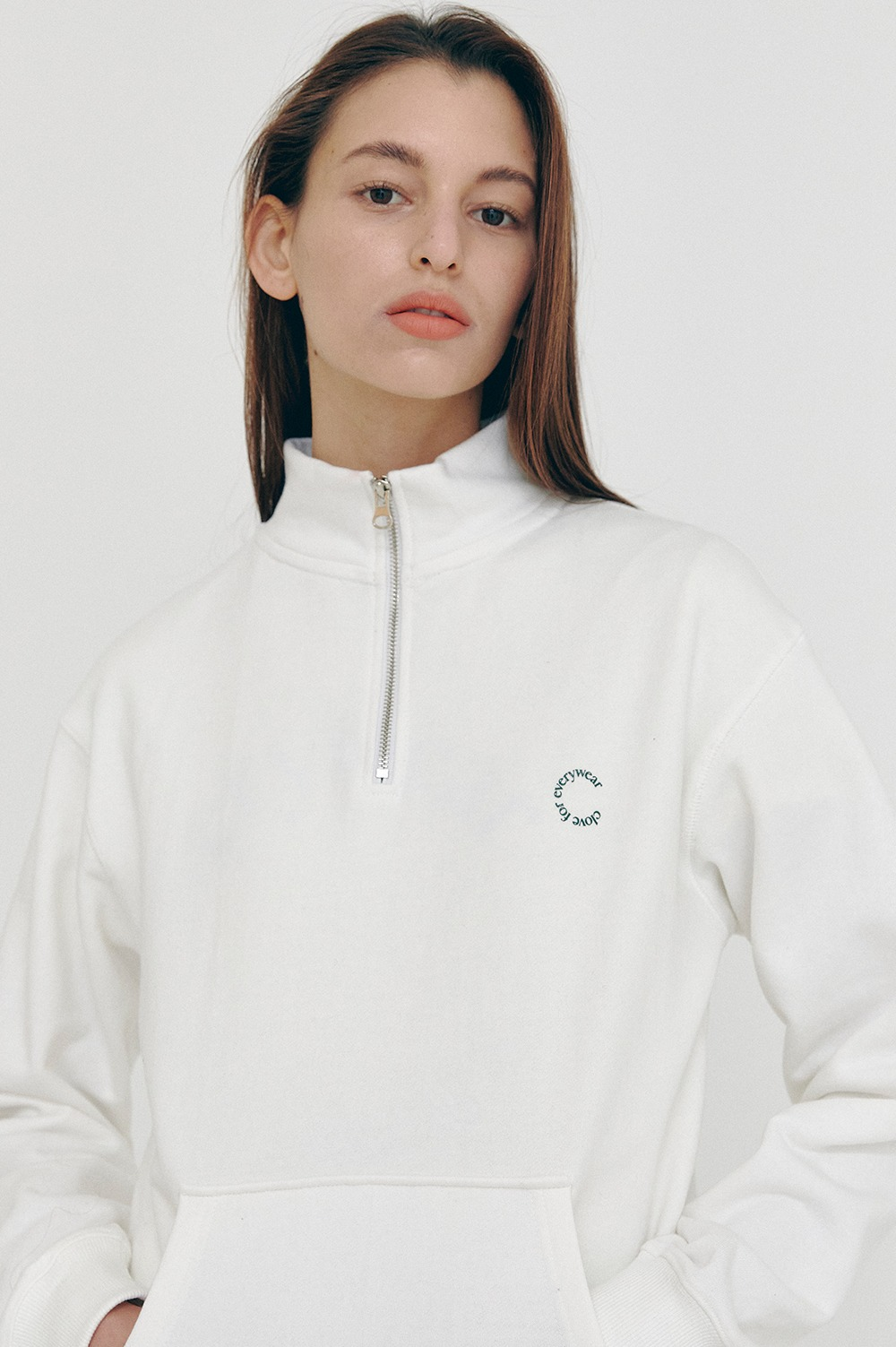 clove - [SS21 clove] New Half-zip Sweatshirts White