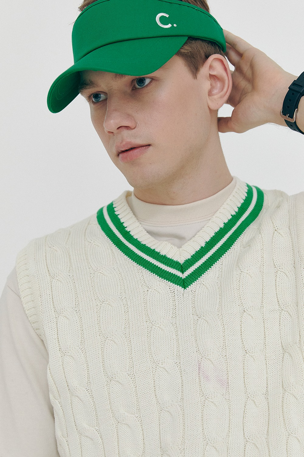 clove - [SS21 clove] Cotton Sun Visor Green