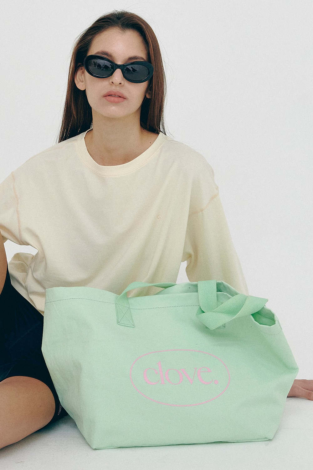 clove - [5/24(월) 예약배송][SS21 clove] Logo Cotton Totebag Mint